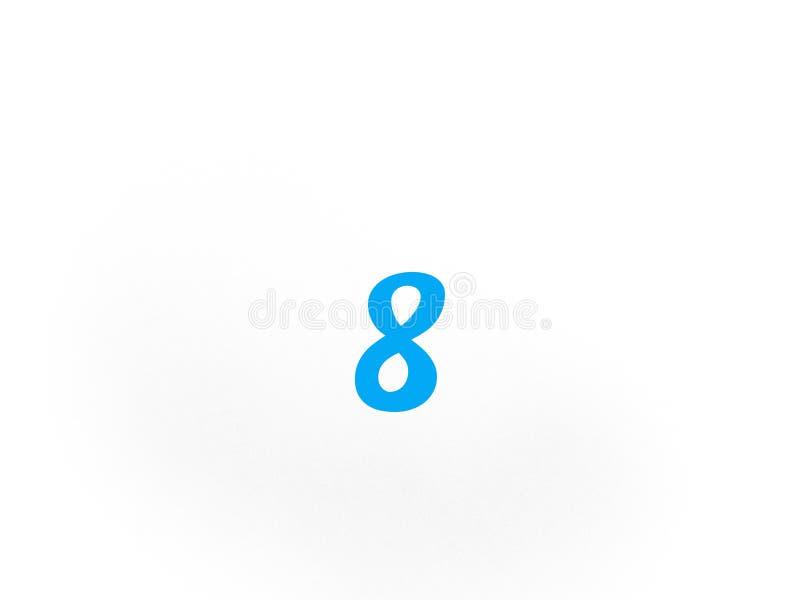 第八8在蓝色 免版税库存照片