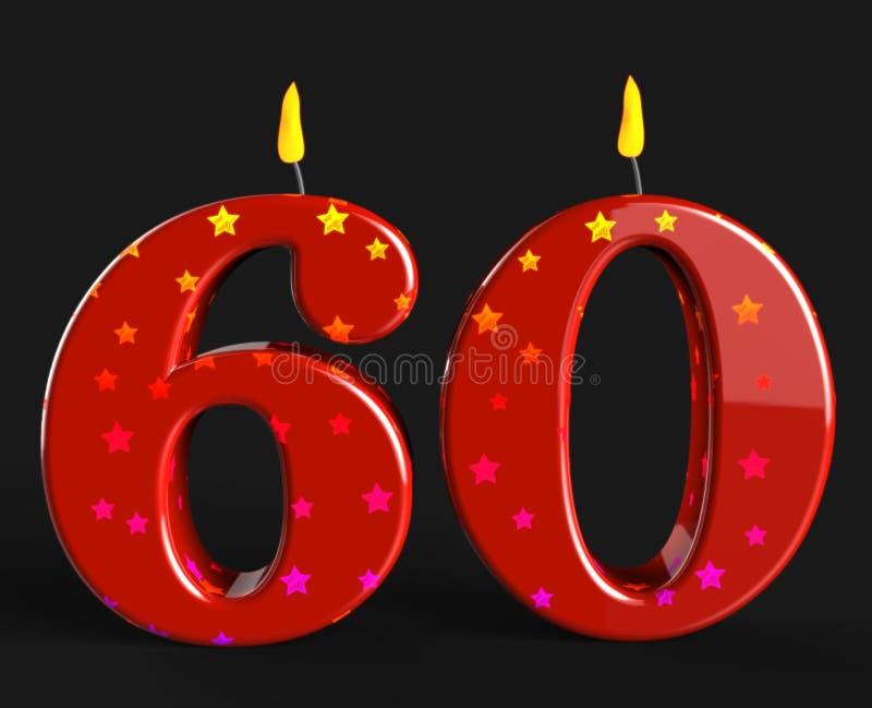 第六十个蜡烛显示年长生日或 库存例证