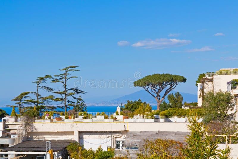 第勒尼安海和维苏威火山背景美丽的庭院 卡普里岛景观 图库摄影