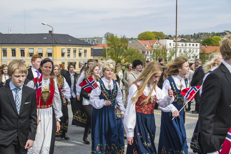 第十七可以,挪威的国庆节 免版税库存照片