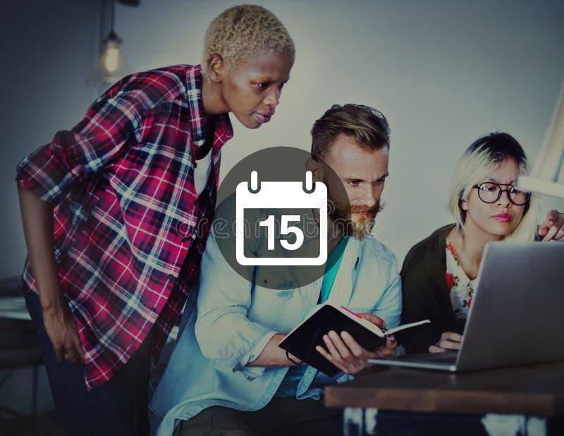 第十五个任命备忘录日程表日历计划概念 免版税库存照片