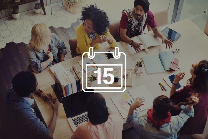 第十五个任命备忘录日程表日历计划概念 图库摄影