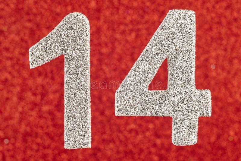 第在红色背景的十四种银色颜色 附注 免版税库存图片