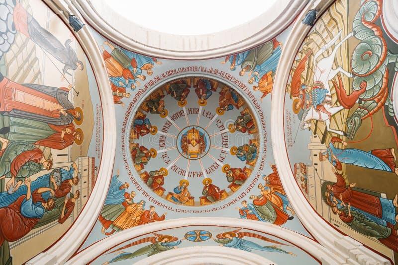 第比利斯乔治亚 圆顶,天花板底视图绘与在圣经的故事的壁画, 免版税库存图片