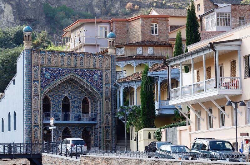 第比利斯地标-清真寺在Abanotubani, Meidan广场,乔治亚 图库摄影