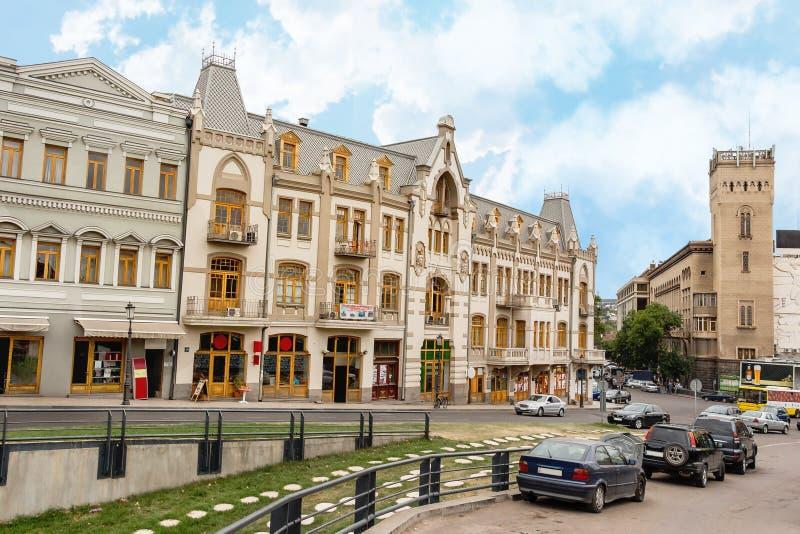 第比利斯的Shota Rustaveli大道 佐治亚州首都市中心欧洲历史建筑主街 库存照片