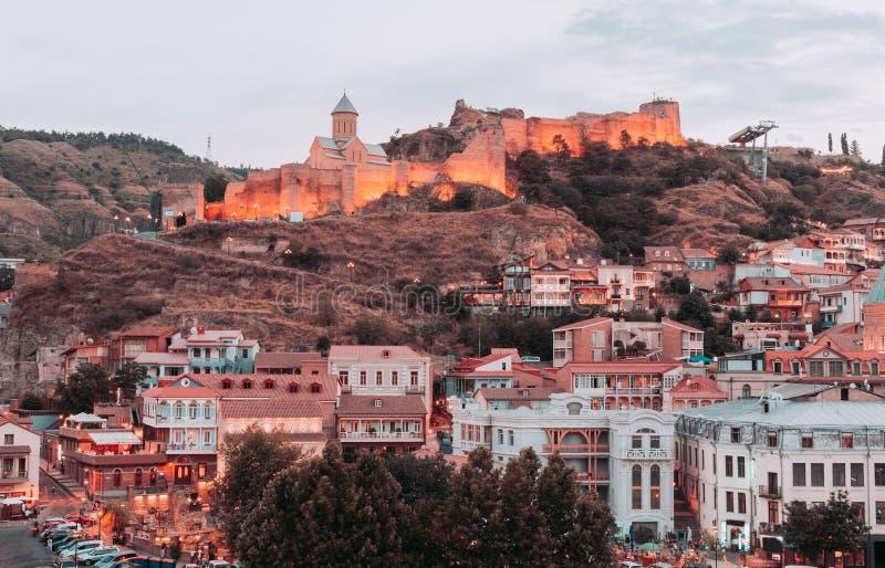 第比利斯美丽的景色在晚上 免版税库存照片