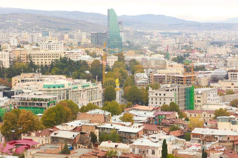 第比利斯老镇全景  免版税库存图片