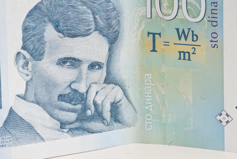 第纳尔一百货币nikola塞尔维亚人tesla 库存图片