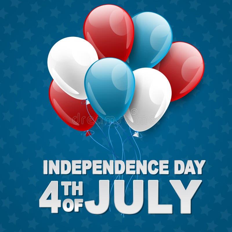 第4与星和气球的美国独立日7月美国全国庆祝背景 r 皇族释放例证