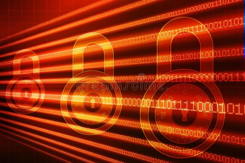 第2个例证安全概念:在数字式背景,互联网安全背景的闭合的挂锁 库存例证