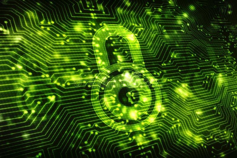第2个例证安全概念:在数字式背景,互联网安全背景的闭合的挂锁 皇族释放例证