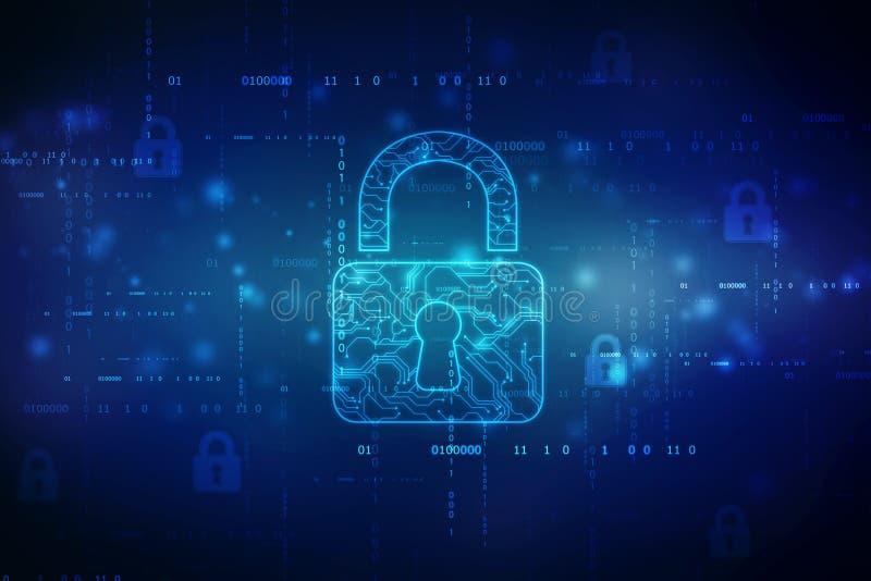 第2个例证安全概念:在数字背景的闭合的挂锁 库存例证