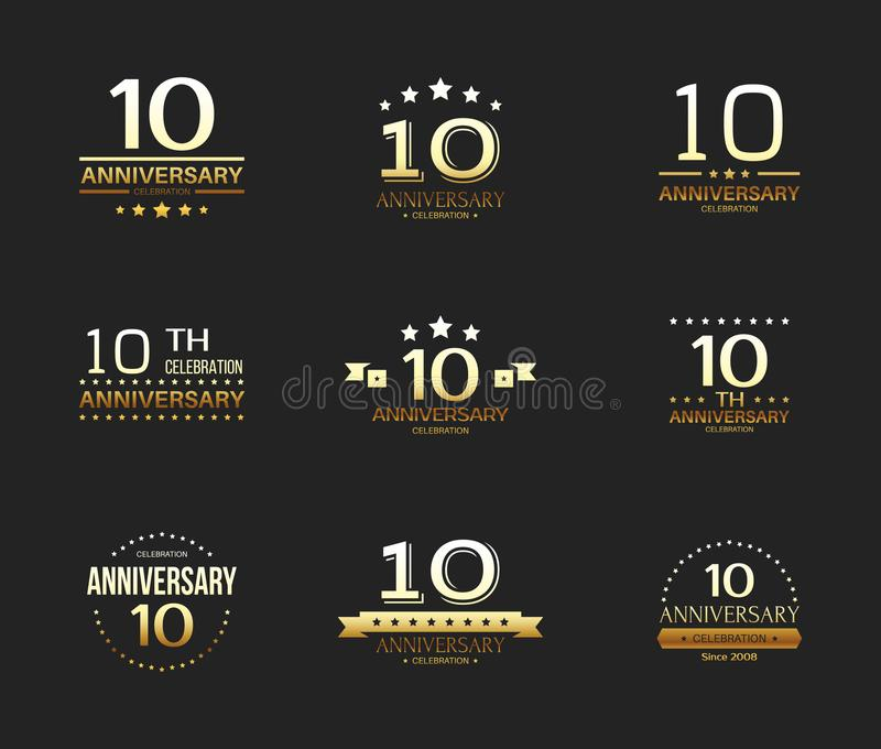 第10个周年庆祝商标集合 10年周年纪念横幅 皇族释放例证