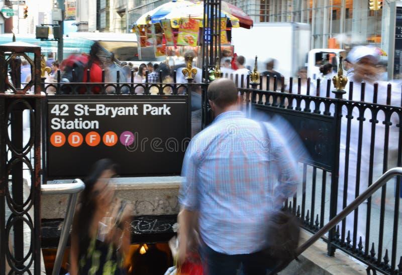 第42个布耐恩特公园地铁入口 免版税库存照片