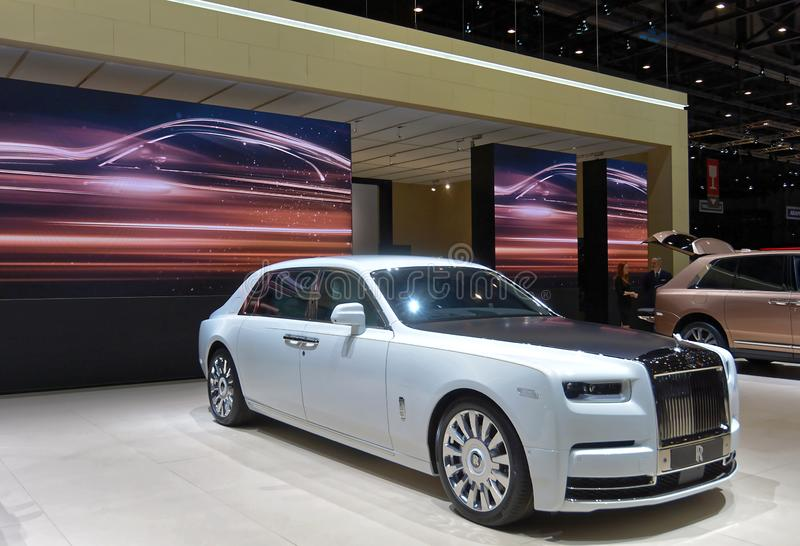 第89个日内瓦国际汽车展示会-劳斯莱斯幽灵宁静 库存图片