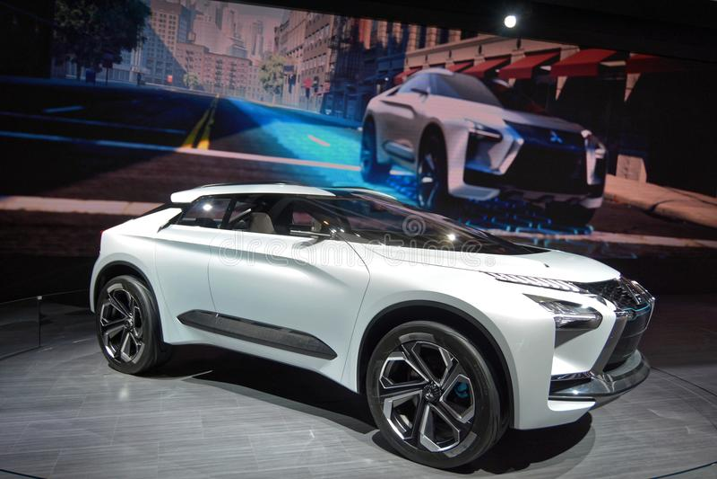 第88个日内瓦国际汽车展示会2018年-三菱e演变概念 图库摄影