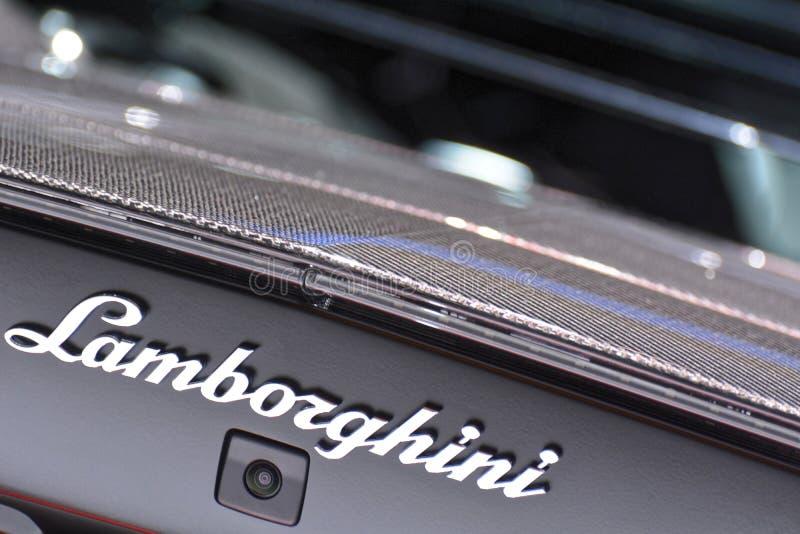 第88个日内瓦国际汽车展示会2018年- Lamborghini徽章 库存照片