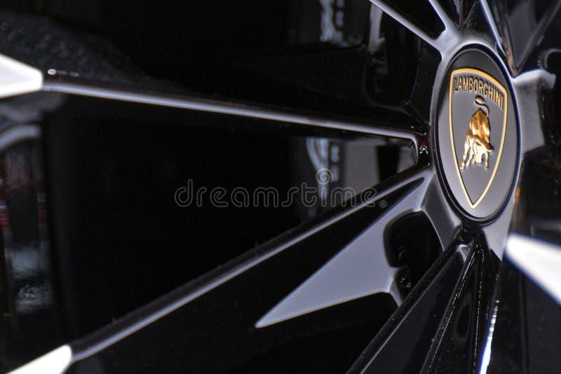 第88个日内瓦国际汽车展示会2018年- Lamborghini徽章 免版税库存图片