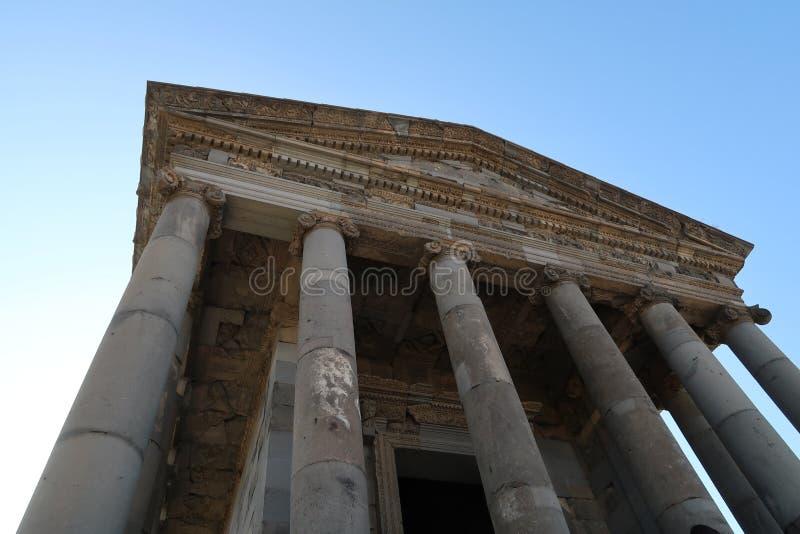 第3个结构上亚美尼亚世纪组合复杂文化要素BC设立了garni希腊文化的国民结构寺庙 免版税库存照片