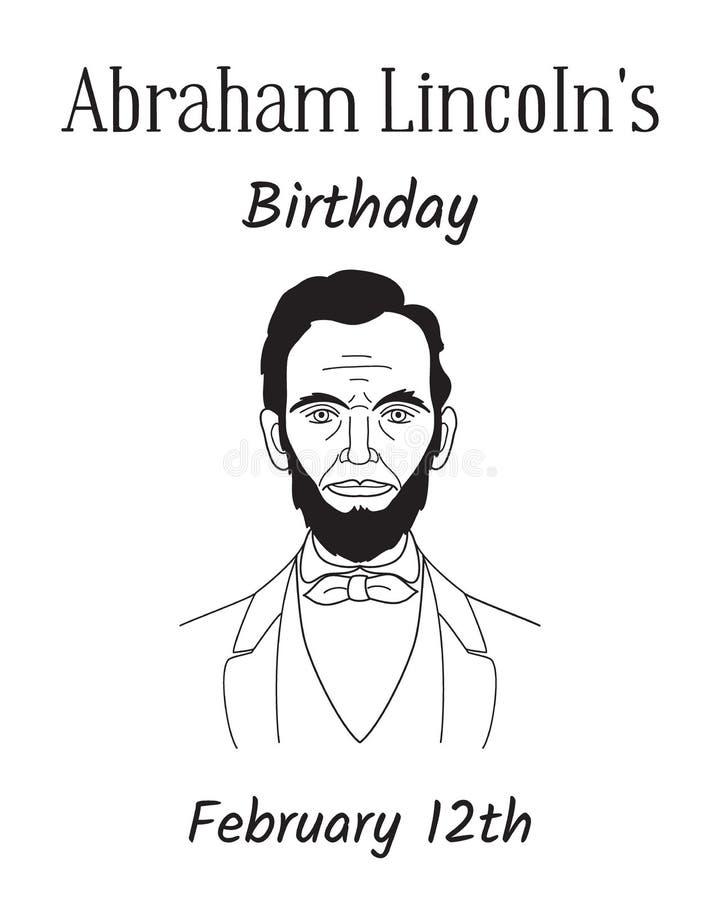 第16个美国总统亚伯拉罕・林肯题材的生日 线艺术在白色背景的样式画象 手 库存例证