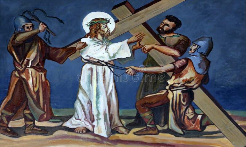 给第2个苦路,耶稣他的十字架 图库摄影