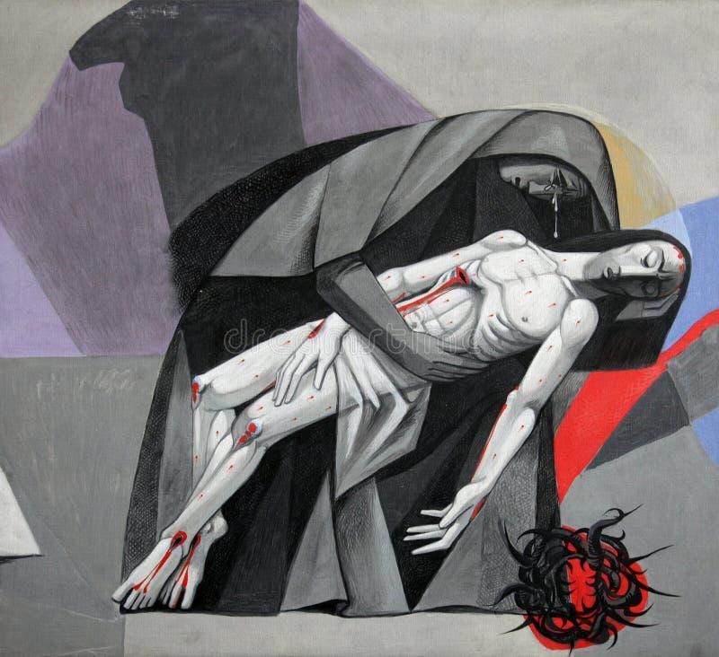 第13个苦路,耶稣`身体从十字架被去除 免版税库存照片