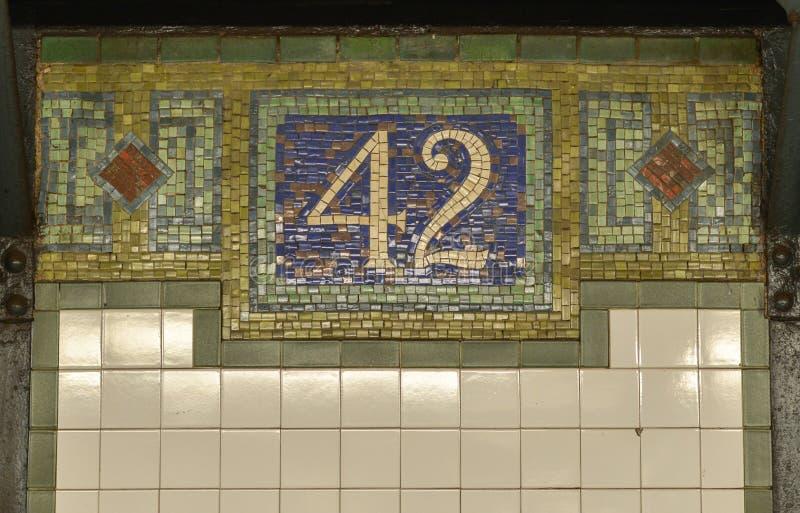 第42个街道NYC地铁标志 库存照片