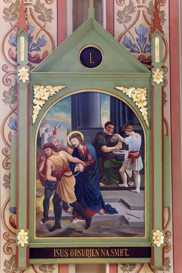 第1个被谴责的交叉死亡耶稣岗位 库存图片