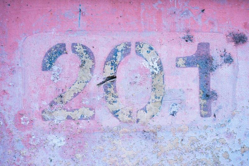 第2 0 1在桃红色墙壁上,二百和一个 免版税库存图片