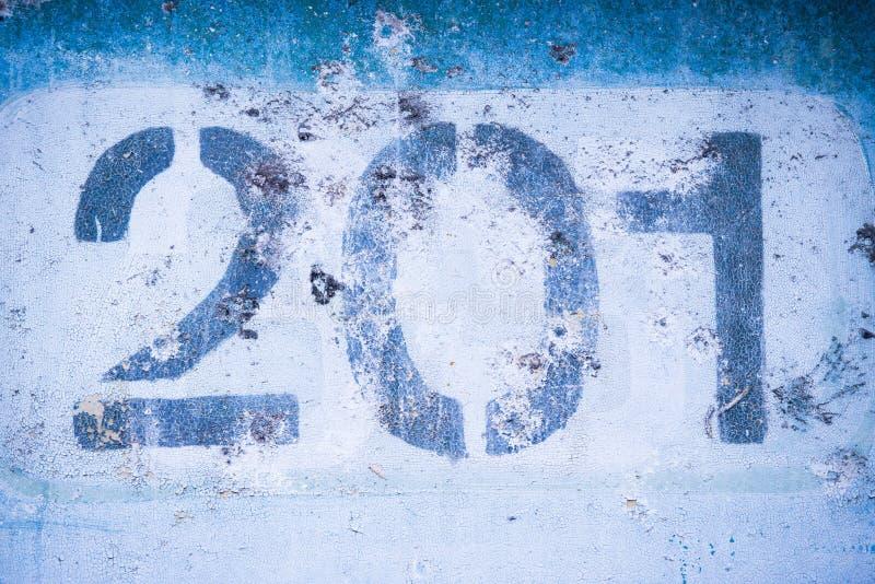 第2 0 1在蓝色墙壁上,二百和一个 库存图片