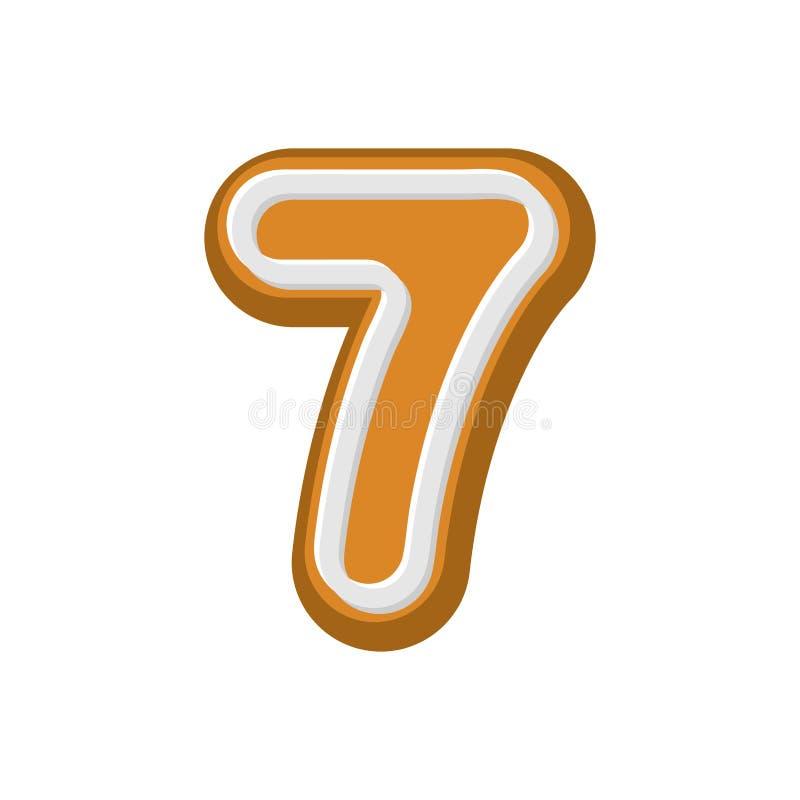 第7姜饼字体 薄荷蜜糕ABC七 厨师 皇族释放例证