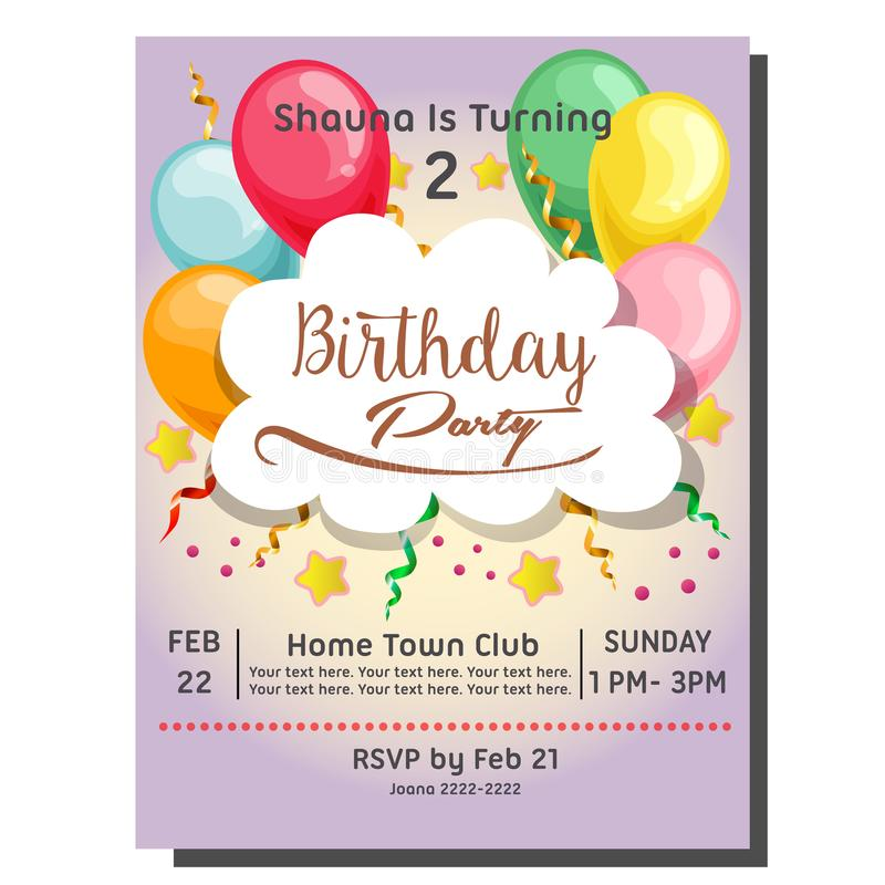 第2张生日聚会邀请卡片用莓果杯形蛋糕 向量例证
