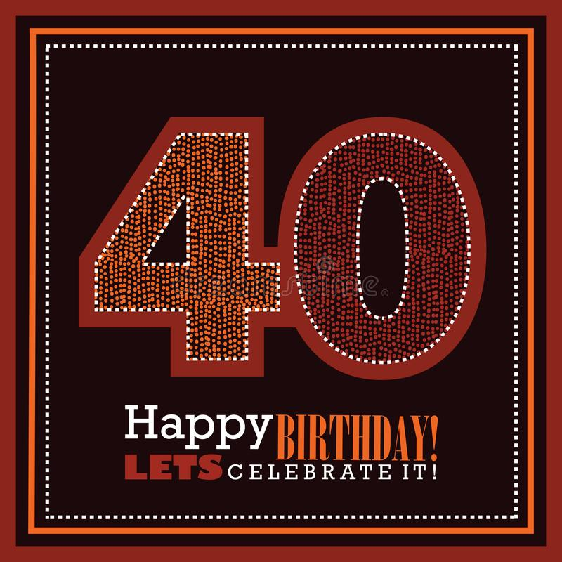 第40张生日贺卡,传染媒介illustrtaion 免版税图库摄影