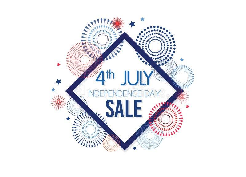 第4 7月专属提议销售,销售海报,销售横幅,销售飞行物,额外折扣提议,网上销售 向量 库存例证