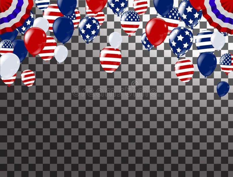 第4 7月愉快的独立日美国 白色,蓝色和红色球 向量例证