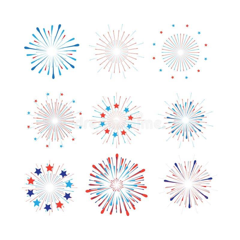 第4 7月愉快的美国独立日标志象集合爱国美国国旗,星烟花五彩纸屑集合传染媒介 皇族释放例证