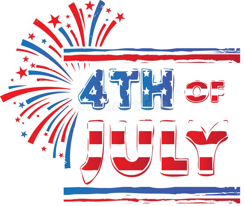 第4 7月横幅红色白色和蓝色烟花 库存照片