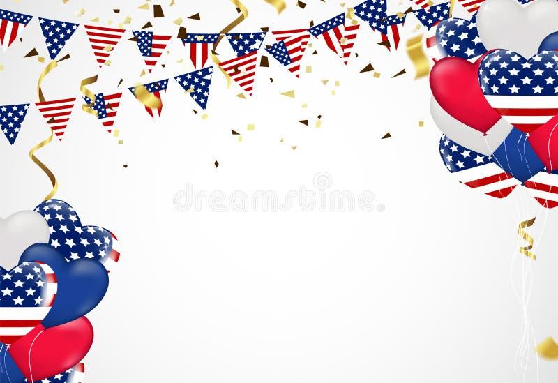 第4 7月美国独立日、传染媒介模板与美国国旗和色的气球在蓝色光亮的满天星斗的背景 皇族释放例证