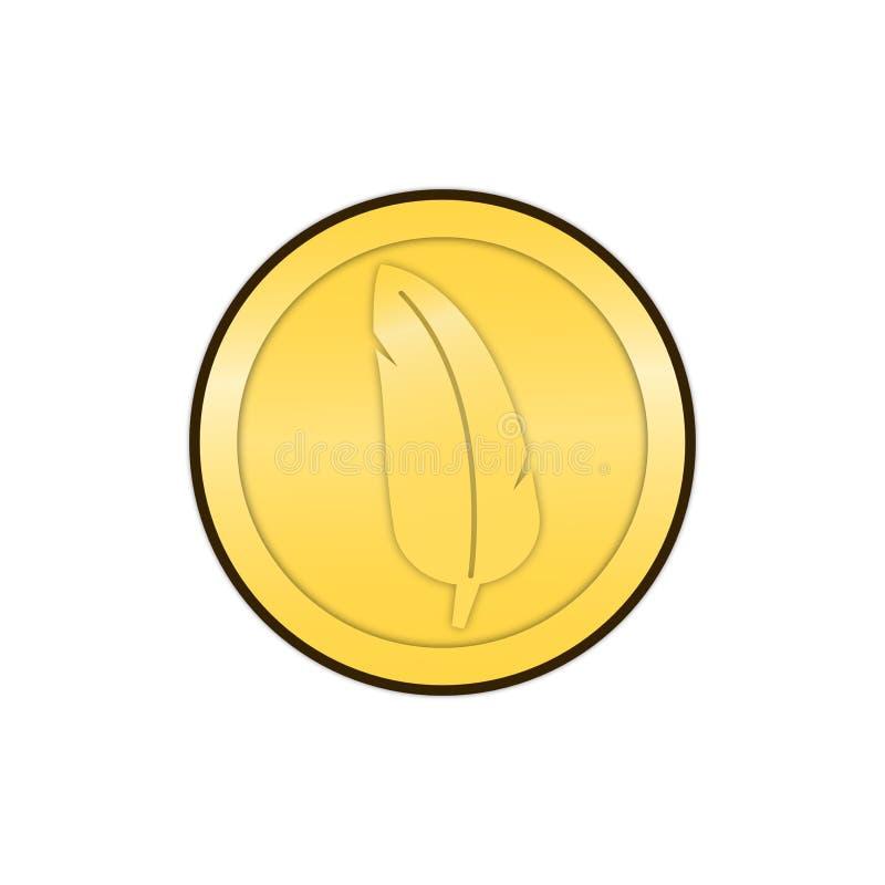 第2枚动画片羽毛硬币平的设计 免版税库存照片