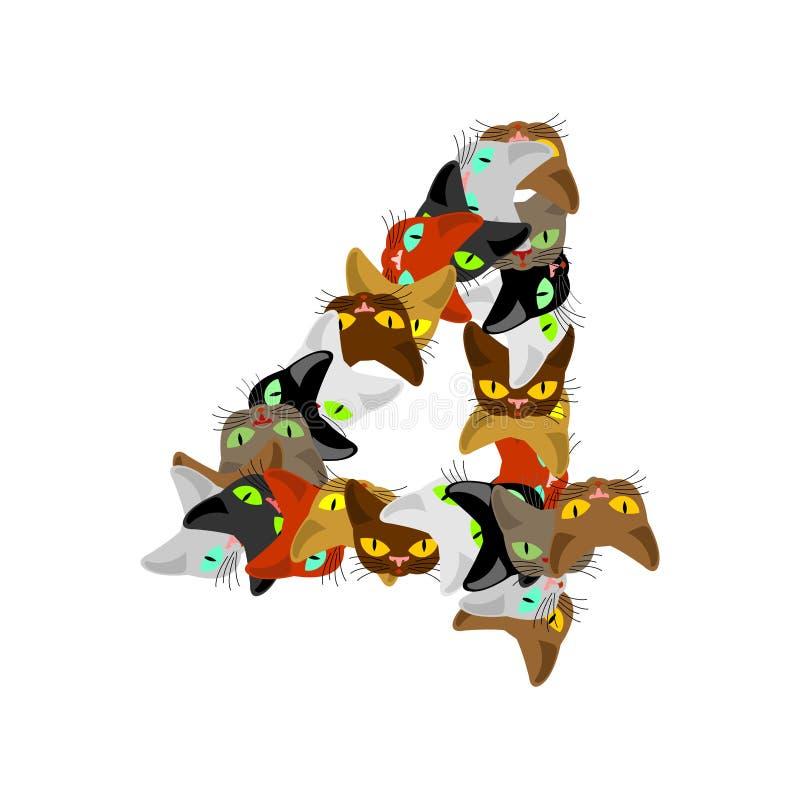第4猫字体 猫第四 宠物字母表标志 家庭美洲黑杜鹃 皇族释放例证