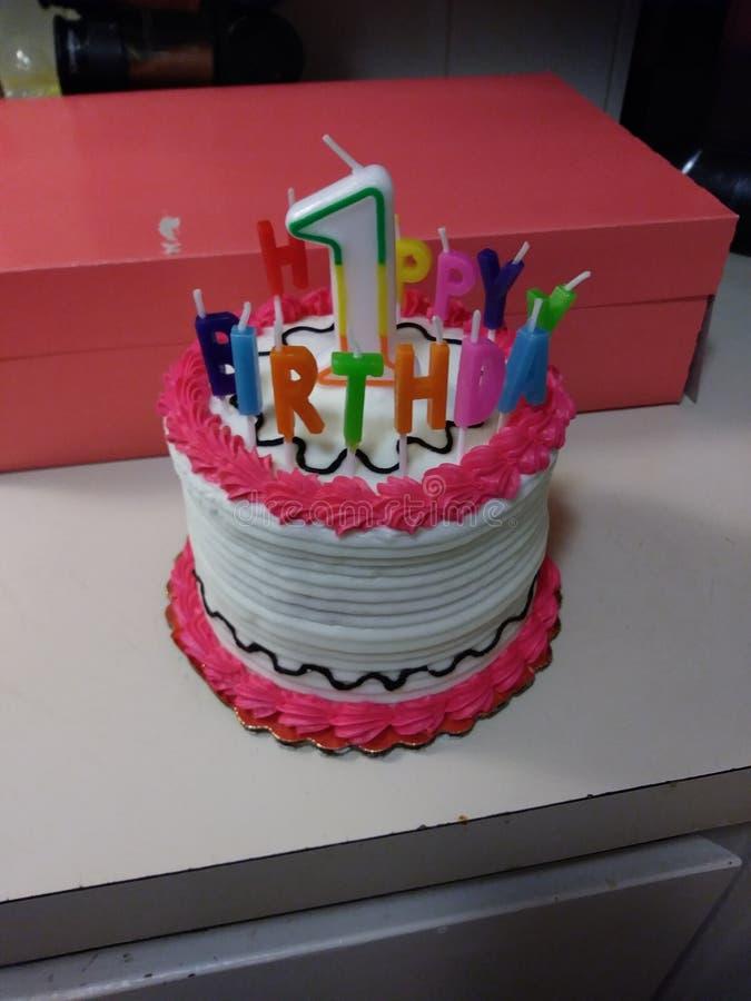 第1生日蛋糕 免版税库存照片