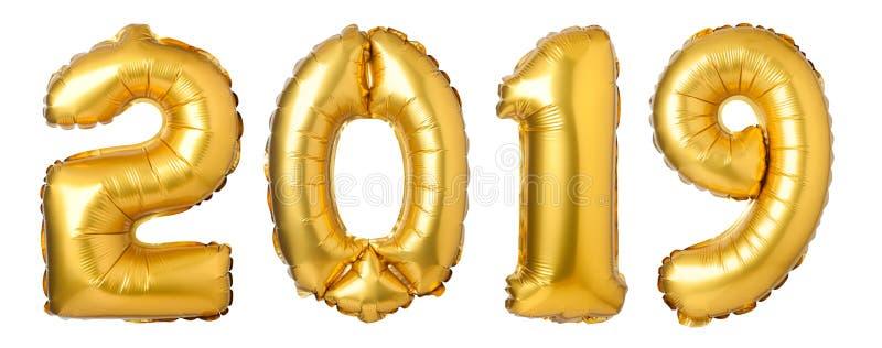 第2019由金黄气球制成 向量例证