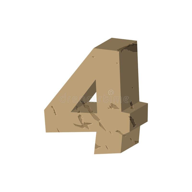 第4石头 岩石字体四 向字母表标志扔石头 岩石哥斯达黎加 皇族释放例证