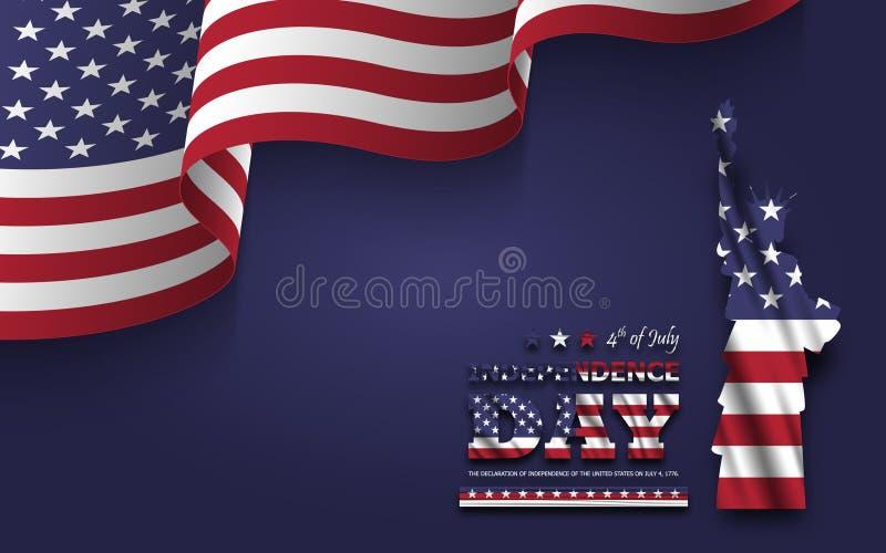 第4美国的7月愉快的独立日 与文本的自由女神像和在角落的挥动的美国国旗在蓝色背景 库存例证