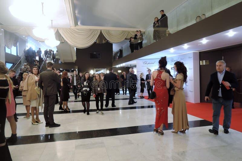 第40莫斯科国际影片竞赛开幕式的客人  免版税库存照片
