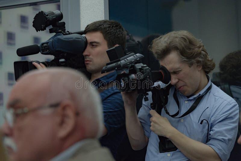 第38莫斯科国际影片竞赛新闻会议  免版税图库摄影