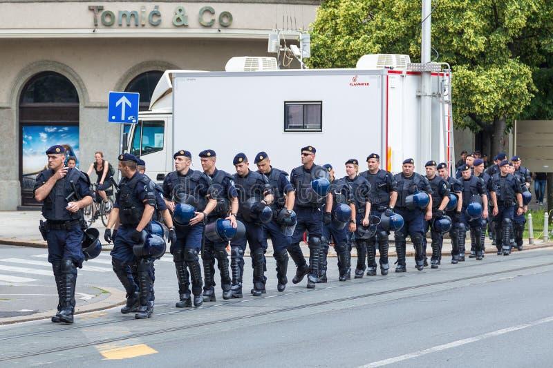 第15萨格勒布自豪感 小组街道的干预警察 免版税图库摄影