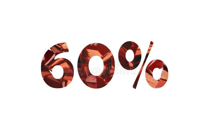 第60被删去与百分号的红色礼物丝带 免版税库存照片