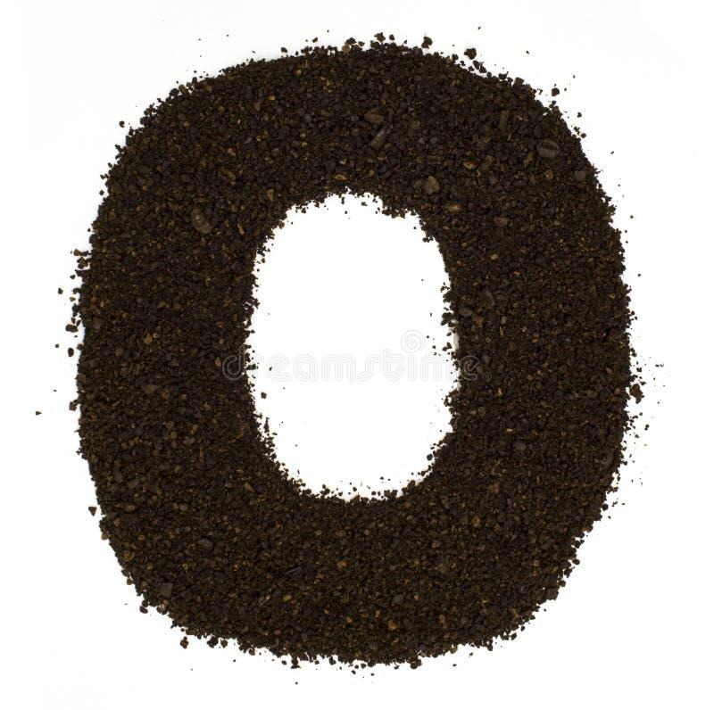 第0零被隔绝的做了碎粗糙的咖啡在白色 平的位置,顶视图 库存图片